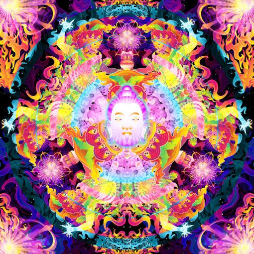 Wrathful Buddha Mandala Psychedelic Fluorescent UV-Reactive Backdrop Tapestry Blacklight Wall Hanging