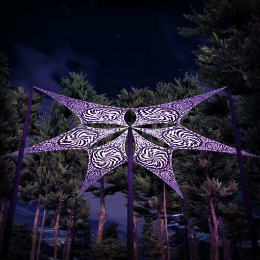 Spiral Clock - Psychedelic UV-Reactive Ceiling Decoration Canopy 6 Petals