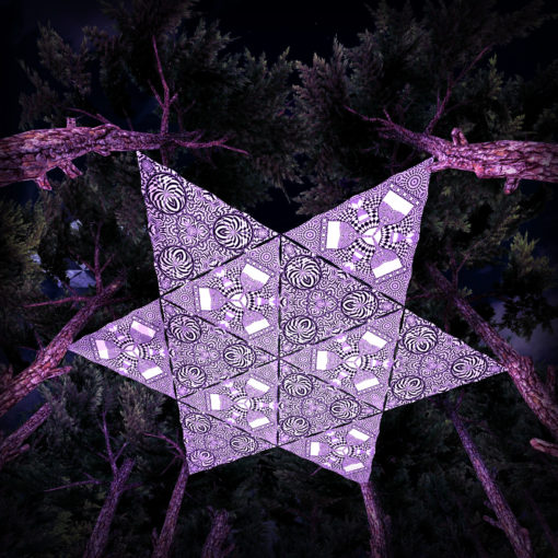 Melting Time Black&White-Triangles - TR01 and TR02 - 12 Pieces - B&W-Reactive Psychedelic Party Decoration - 3D Preview