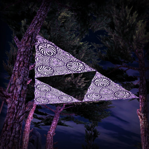 Melting Time Black&White-Triangles - TR02 - 3 Pieces - B&W-Reactive Psychedelic Party Decoration - 3D Preview