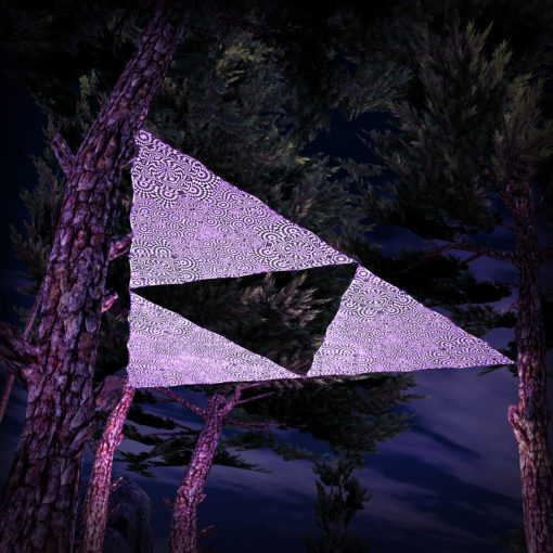 Melting Time Black&White-Triangles - TR03 - 3 Pieces - B&W-Reactive Psychedelic Party Decoration - 3D Preview