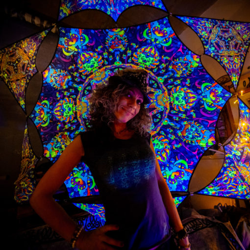 Kali in Acidland Hexagon and 6 Triangles Psychedelic UV-Reactive Canopy Set-01 - Stretchable Print on Lycra