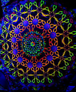Kali in Acidland Hexagon and 6 Triangles Psychedelic UV-Reactive Canopy Set-02 - Stretchable Print on Lycra