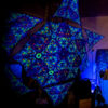 Kali in Acidland Hexagon and 6 Triangles Psychedelic UV-Reactive Canopy Set-03 - Stretchable Print on Lycra